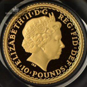 2003 Storbritannia 1/10 oz Gullmynt Britannia Proof M/Kapsel