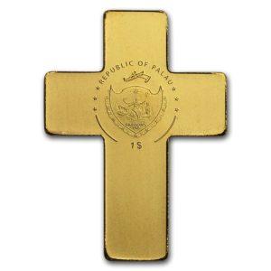 """Palau 1/2 gram Gull $1 """"Golden Crucifix"""" Silk Finish"""