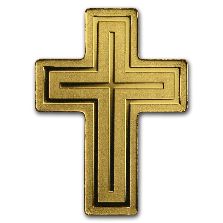 "Palau 1/2 gram Gold $1 ""Golden Crusifix"" Silk Finish"