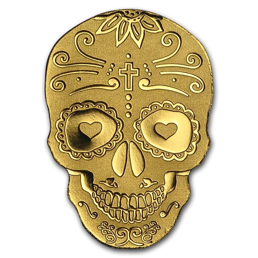 "Palau 1/2 gram Gold $1 ""Golden La Catrina Skull"" Silk Finish"