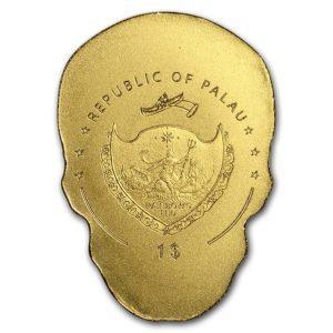 "Palau 1/2 gram Gull $1 ""Golden La Catrina Skull"" Silk Finish"