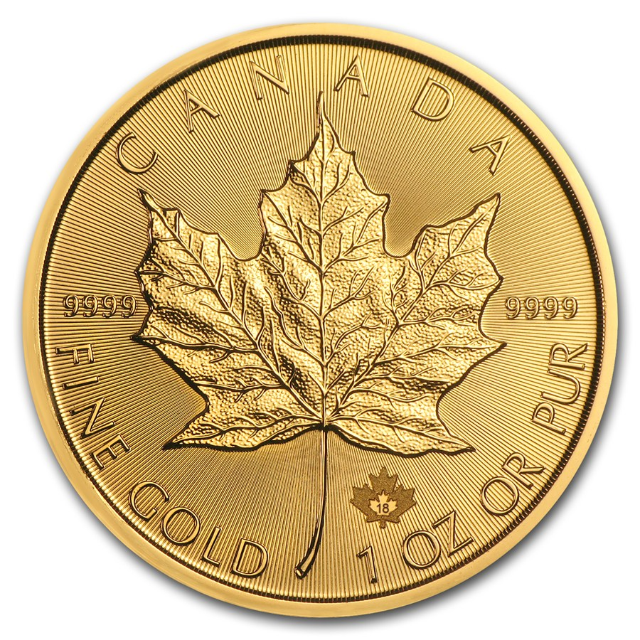 2018 Kanada 1 oz Gold Maple Leaf BU