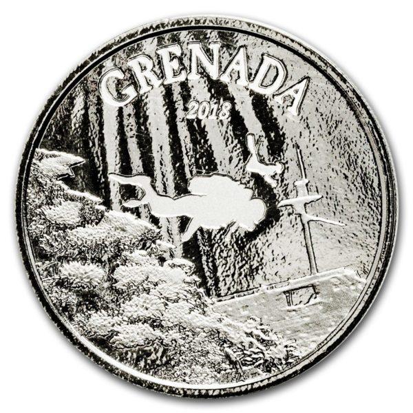 2018 Grenada 1 oz Sølvmynt Diving Paradise EC8 BU
