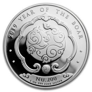 2019 Bhutan 1 oz Sølv Lunar Boar BU M/Kapsel