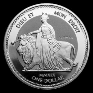"""2019 De Britiske Jomfruøyer 1 oz Sølv """"Una & The Lion"""" Frostet BU"""