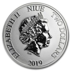 "2019 Niue 1 oz Sølv Lunar ""Year of the Pig"" BU"