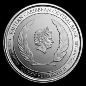 """2018 Saint Lucia 1 oz Sølvmynt """"Land og Birds"""" EC8 BU"""