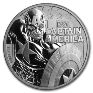 "2019 Tuvalu 1 oz Sølv Marvel Series ""Captain America"" BU"