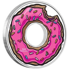 """2019 Tuvalu 1 oz Sølv Simpsons """"Donut"""" Proof"""