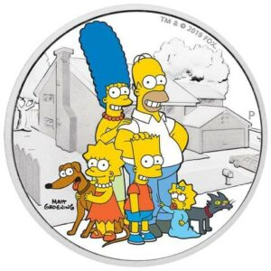"2019 Tuvalu 2 oz Sølv Simpsons ""Family"" Proof"