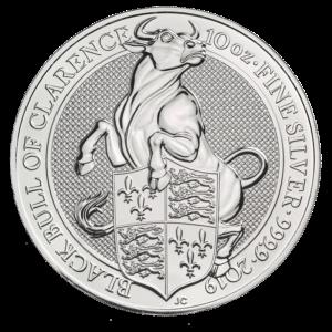 """2019 Storbritannia 10 oz Sølv """"Queen`s Beasts - The Bull"""" BU M/Kapsel"""