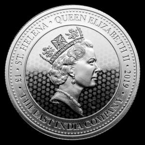"""2019 Saint Helena 1 oz Sølv """"Spade Guinea Shield"""" BU"""