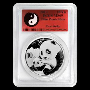 "2019 Kina 30 Gram Sølv Panda PCGS MS69 ""First Strike / Yin-Yang"""