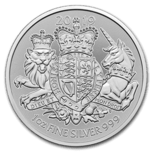 "2019 Storbritannia 1 oz Sølv ""The Royal Arms"" BU"