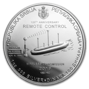 "2019 Serbia 1 oz Sølv ""Nikola Tesla - Remote Control"" BU"