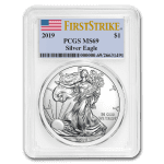 2019 Silver American Eagle 1 oz Sølv PCGS MS69