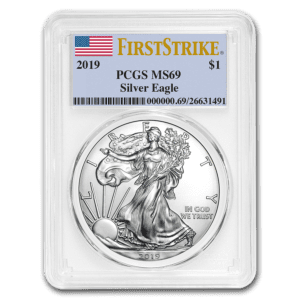 "2019 Silver American Eagle 1 oz Sølv PCGS MS69 ""First Strike"""