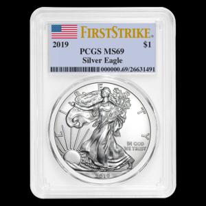 """2019 Silver American Eagle 1 oz Sølv PCGS MS69 """"First Strike"""""""