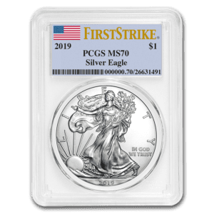 "2019 Silver American Eagle 1 oz Sølv PCGS MS70 ""First Strike"""