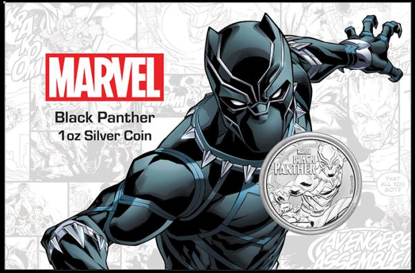2018 Tuvalu 1 oz Sølv Marvel Series BLACK PANTHER™ BU (In Card)