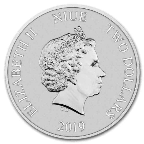 2019 Niue 1 oz Silver $2 Star Wars Darth Vader BU