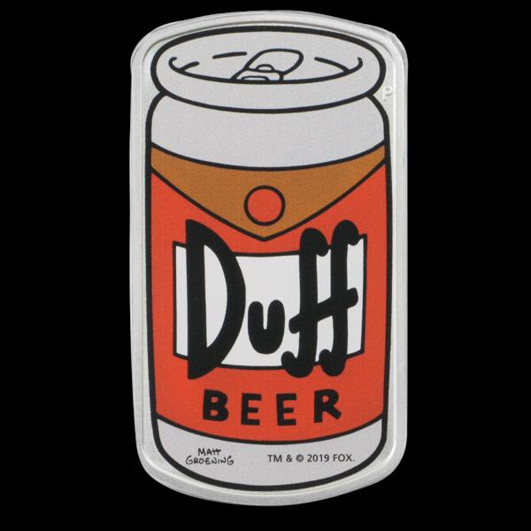 2019 Tuvalu 1 oz Sølv The Simpsons «Duff Beer» Proof