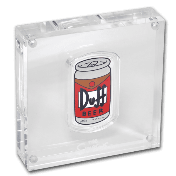 2019 Tuvalu 1 oz Silver The Simpsons Duff Beer Proof display