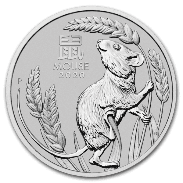 2020 Australia 1 oz Platinum Lunar S3 «Year of the Mouse» BU M/Kapsel