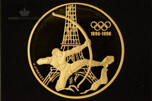 1994 Frankrike 1/2 oz Gull Olympic Committee 1896-1996 «The Archer» Proof M/Quadrum kapsel