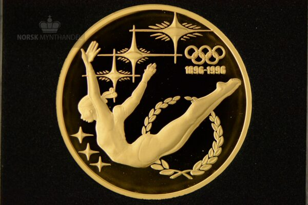 1993 Australia 1/2 oz Gull Olympic Committee 1896-1996 «The Gymnast» Proof M/Quadrum kapsel
