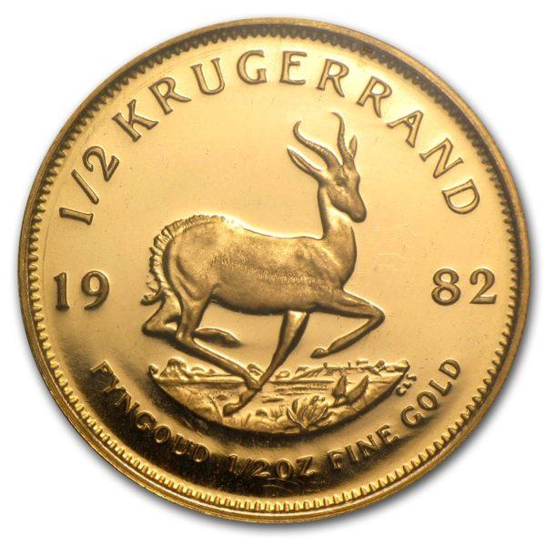 1982 Sør-Afrika 1/2 oz Gull Krugerrand Proof M/Orginalt Etui «Anmerkning»
