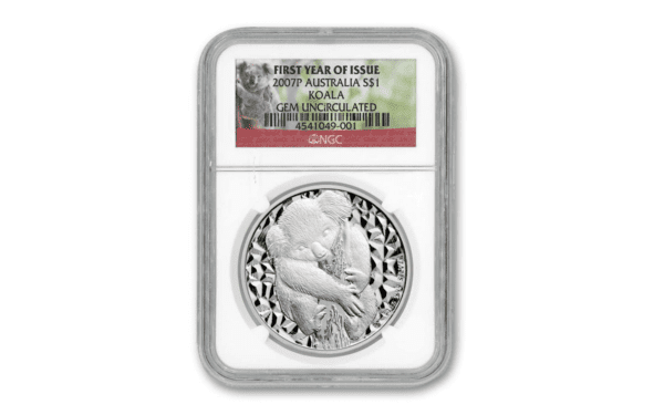 2007 Australia 1 oz Sølv Koala NGC GEM «First Year Of Issue»