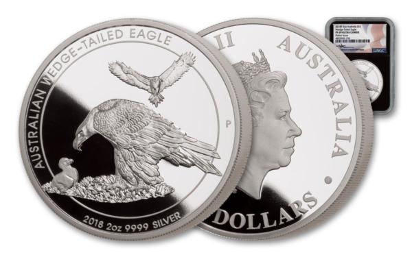 2018 Australia 2 oz Sølv Wedge-Tailed Eagle «Piedfort Proof» NGC PF69UC M/Etui & COA