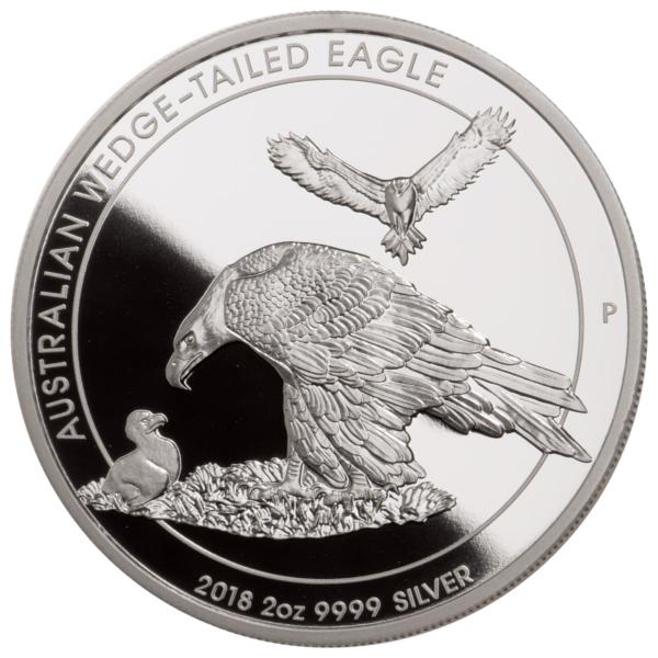 2018 Australia 2 oz Sølv Wedge-Tailed Eagle «Piedfort Proof» M/Etui & COA