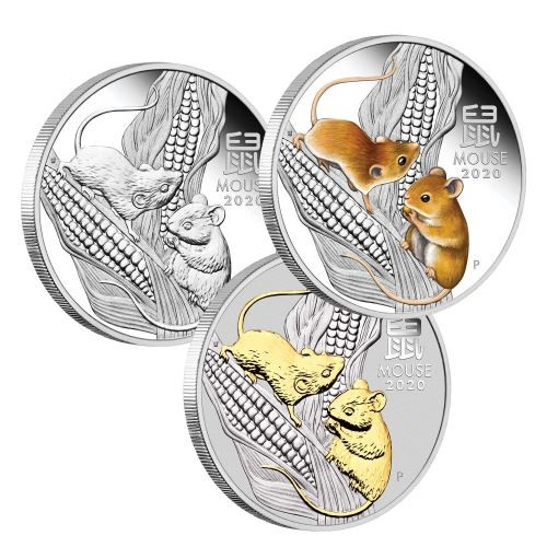 2020 1 oz Australia Lunar Series III – Year of the Mouse 9999 Silver Proof 3 Coin Set