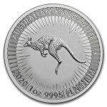 2020 Australia 20 x 1 oz Platinum Kangaroo BU M/Kapsel i Rull «Bestillingsvare»