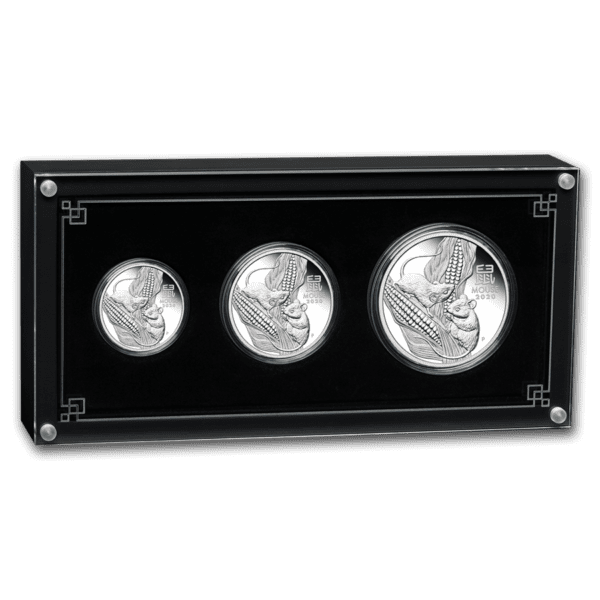 2020 Australia 1 oz Sølv Lunar S3 «Year of the Mouse» Proof 3 Coin set