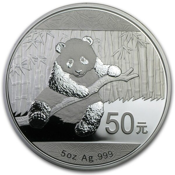 2014 Kina 5 oz Sølv Panda Proof NGC PF69UCAM m/Etui & CEO