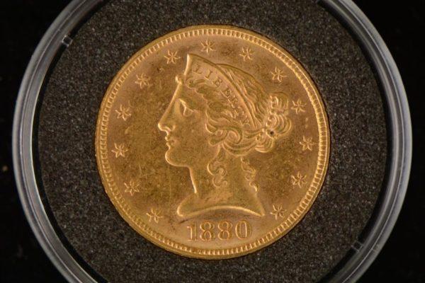 1880 USA 5$ 0.2419 oz Liberty Gold Half Eagle AU M/Kapsel