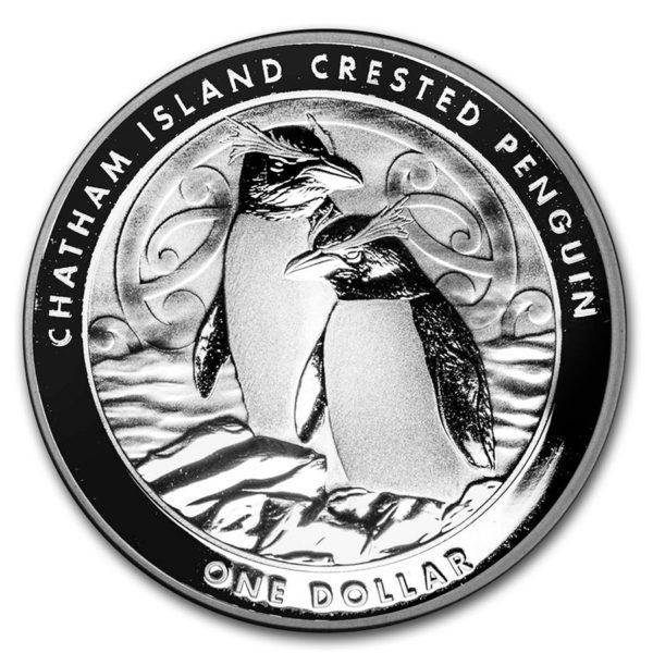 2020 New Zealand 1 oz Sølv Chatham Crested Penguin BU M/Kapsel