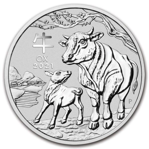 2021 Australia 1 oz Sølv Lunar S3 «Year of the Ox» BU M/Kapsel