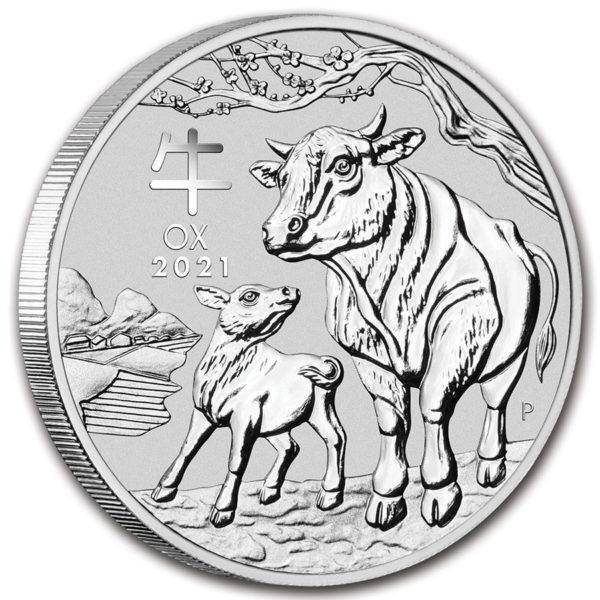 2021 Australia 2 oz Sølv Lunar S3 «Year of the Ox» BU M/Kapsel