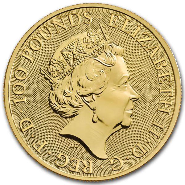 2021 Storbritannia 1 oz Gull «Queen`s Beasts – The White Greyhound» BU M/Kapsel
