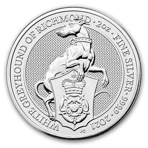 2021 Storbritannia 2 oz Sølv «Queen`s Beasts – The White Greyhound» BU
