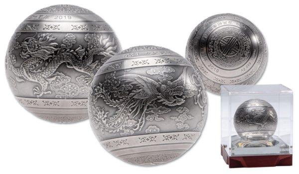 2019 Kina 1 Kilo Sølv Ball «Dragon & Phoenix» Antikk M/Display etui
