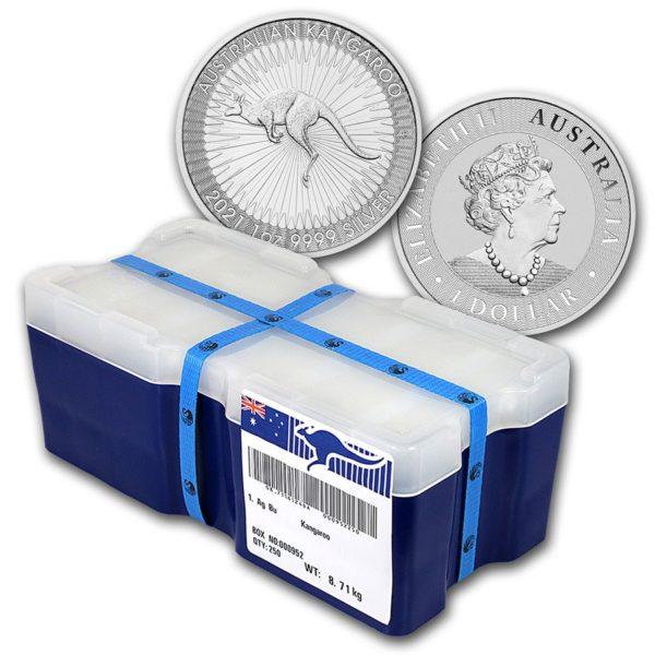 2021 Australia Sølv Kangaroo 250 x 1 oz Monster Box «Bestillingsvare»