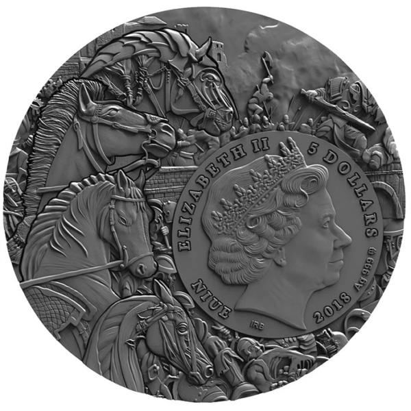 2018 Niue 2 oz sølv «Four horsmen of the apocalypse – White Horse» Ultra High Relief Antikk