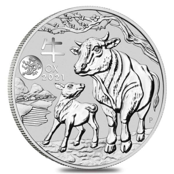 2021 Australia 1 oz Sølv Lunar S3 «Year of the Ox» Dragon Privy BU M/Kapsel