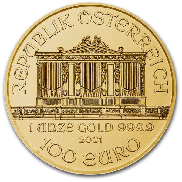2021 Østerrike 1 oz Gullmynt Philharmoniker BU M/Kapsel