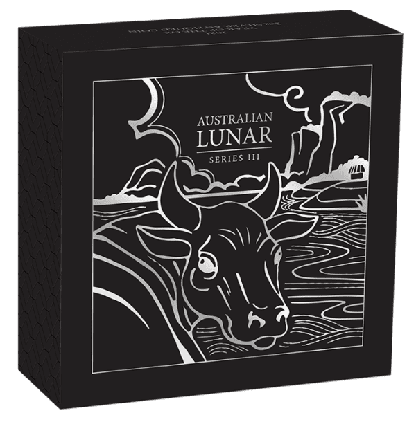 2021 Australia 2 oz Sølv Lunar S3 «Year of the Ox» Antiqued M/Etui & COA